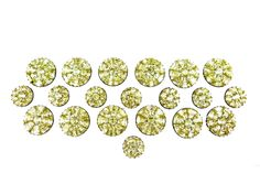 - Set of twelve large and eight small 18th century Portuguese chrysolite cluster buttons, c.1780,