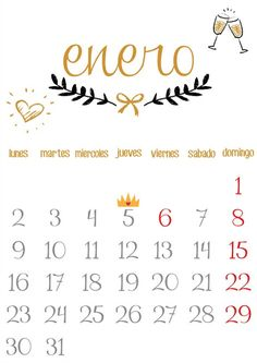 Imprimible: Calendario Enero 2017