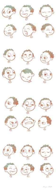 Cartoon Drawings Face Expressions Sketch on Behance More - Cartoon Characters Sketch, Drawing Cartoon Characters, Cartoon Sketches, Character Sketches, Character Design References, Character Drawing, Character Illustration, Cartoon Art, Drawing Sketches