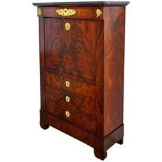 French Empire Secretaire a Abattant with Cuban Acajou Mahogany, 19th Century