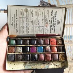 "Vintage Winsor & Newton's ""Bijou Box"" of 24 Moist Water Colours.  No. 4. Includes Artists' Sable Hair Brush."