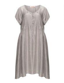 Privatsachen Seidenkleid mit Kräuselung in Taupe-Grau