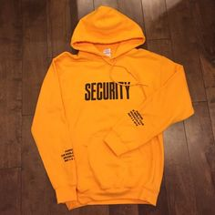 JUSTIN BIEBER VFILES FEAR OF GOD SECURITY HOODIE Brand new unisex size small yellow security pullover hoodie from the vfiles pop up shop for the purpose tour merch Fear of god Tops