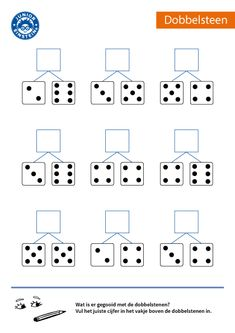 How much was thrown with both dice? Do you recognize the patterns on a dobb . Kindergarten Math Worksheets, Preschool Math, Math Resources, Kids Learning Activities, Toddler Learning, Montessori Math, Math For Kids, Kids Education, Fractions
