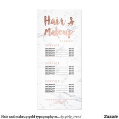 Hair and makeup gold typography marble price list personalised rack card