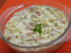 Sarokkonyha: Krumplisaláta virslivel My Recipes, Salad Recipes, Cooking Recipes, Healthy Recipes, Quiche Muffins, Cold Dishes, Hungarian Recipes, Salad Dressing, Potato Salad