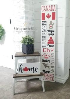Diy Canada Day Decor, Canada Day Crafts, Making Signs, How To Make Signs, Barn Signs, Rustic Signs, Custom Wood Signs, Wooden Signs, Cricut Canada
