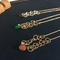 金のリングと美しい天然石(カーネリアン、グリーンオニキス、エレスチャルクォーツ)の夏のネックレス K14gf使用