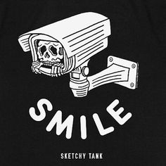 Keep a watchful eye on your style with a Sketchy Tank skull inside a camera left chest and back graphic on a tagless black colorway. Skeleton Art, Skeleton Watches, Tank Drawing, Posca Art, Skull Illustration, Skull And Bones, Big Shot, Future Tattoos, Skull Art