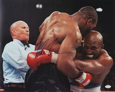Mike Tyson Signed 16x20 Photo vs Evander Holyfield (JSA COA) - Infamous Ear Biting Incident