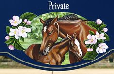 This lovely property sign features hand painted horses as the centerpiece. Property Signs, Flora Danica, Farm Signs, Horse Farms, Carving, Hand Painted, Horses, Label, Painting
