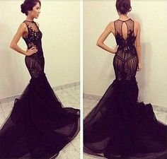 Elegant 2015 Sexy Black Prom Dresses Mermaid Formal Evening Soiree Gowns Custom