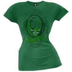 Grateful Dead - Boston 1977 Juniors Green T-Shirt - Small, Women's