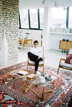 A portray of designer Bruno Pieters at home