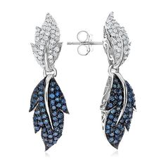 1.00 Carat Blue & White Diamond Leaf Earrings in Sterling Silver #Netaya #Dangle