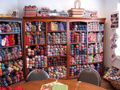 Borealis Yarns - Wall of Sock Yarn. What I wouldn't give for all this yarn Yarn Storage, Craft Room Storage, Craft Rooms, Fabric Storage, Knitting Room, Knitting Yarn, Knitting Daily, Crochet Geek, Crochet Yarn