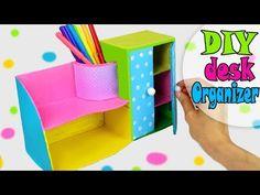 DIY DESK ORGANIZER MULTIFUNCTIONAL FROM CARDBOX EASY TUTORIAL - YouTube