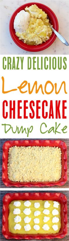 Whether you want a citrusy dump cake or cobbler, this Lemon Cheesecake Dump Cake Recipe is sure so satisfy your cravings! Lemon Dump Cake Recipe, Spice Dump Cake Recipe, Dump Cake Recipes, Lemon Desserts, Lemon Recipes, Delicious Desserts, Lemon Cakes, Easy Recipes, Easy Lemon Cheesecake