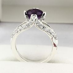 Natural VS purple Amethyst Solid 14K White Gold Diamond Ring