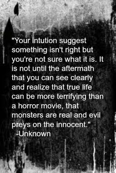 Your intuition suggests something isn't right but you're not sure what it is. It is not until the aftermath that you can see clearly & realize that true life can be more terrifying than a horror movie, that monsters are real & EVIL preys on the innocent.