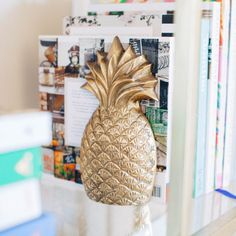 One of our very favorites, complete your bookshelf with these stylish vintage brass pineapple bookends. Dimensions: L x 3 W x 7 H Materials: Brass Dream Apartment, Apartment Living, Palm Beach Regency, Dream Bedroom, My Room, Home Accessories, Sweet Home, At Least, Houses