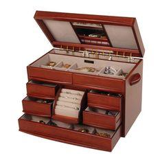 Mele & Co. Walnut Finish Jewelry Box