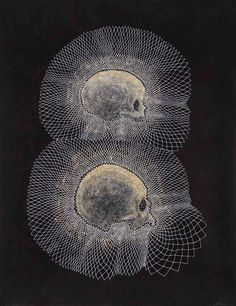 Walter Oltmann Skulls (Mother and Child), 2013 Ink, bleach and charcoal on paper 80 x 65.5cm: