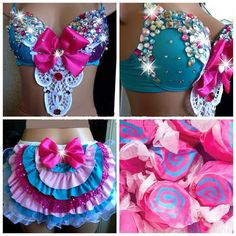 Cotton Candy Laffy Taffy Rhinestone Gem Rave Bra and Bottoms, For EDC,... ($125) ❤ liked on Polyvore featuring rave and outfit