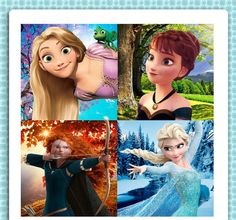 Elsa, Anna, Rapunzel and Merida. Rapunzel & Anna could possibly swap seasons & it'd still work, but this is quite beautiful. Old Disney, Disney Love, Disney Stuff, Disney Girls, Disney Magic, Disney And Dreamworks, Disney Pixar, Funny Disney, Disney Puns