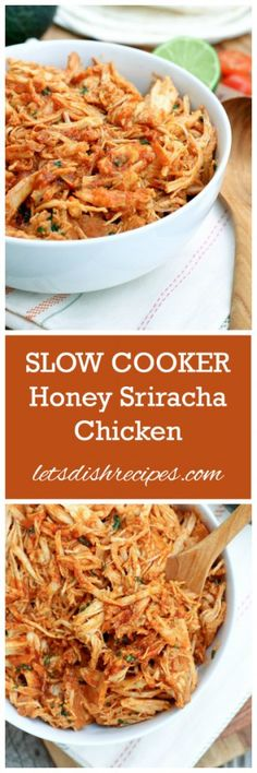 Slow Cooker Honey Sriracha Chicken Recipe | All it takes is just a few ingredients and 4 hours in a slow cooker to make this sweet and spicy Honey Sriracha Chicken.