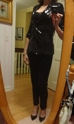 Dressing over 50 - sequin jacket over black pants - Holiday party