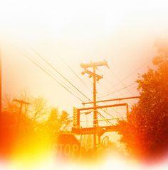 Burned Power Lines. Lighting. Sun. Illusion