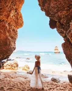 """""""Frolicking through hidden caves, and talking to the sea. 😁👣💦 Beautiful capture by Tara in 📸 Tara Milk Tea, Visit Portugal, Win A Trip, Photo Diary, Island Life, Great Pictures, Monument Valley, Travel Photography, Scenery"""