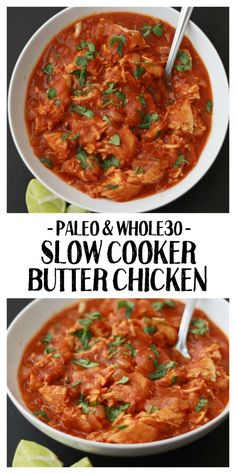 Slow Cooker Butter Chicken (GF, DF, Paleo, Whole Slow Cooker Paleo Butter Chicken. One of our all-time favorite healthy slow cooker meals. The sauce is so good you'll lick the bowl clean. More from my siteHealthy Avocado Chicken Salad Recipe Indian Food Recipes, Real Food Recipes, Healthy Recipes, Paleo Indian Food, Healthy Food, Cheap Recipes, Paleo Food, Detox Recipes, Healthy Chicken