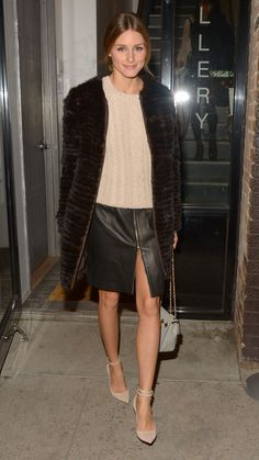 Celebrity Street Style: The 10 Most Stylish Stars - Olivia Palermo wearing Old Navy | Classic cream sweater + brown fur coat worn with a center zip leather pencil skirt and nude pointy heels
