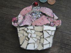 EAT ME mosaic cupcake in pinks, mosaic art.