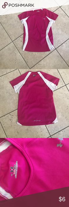 UNDER ARMOR workout top UNDER ARMOR workout top // size s // hot pink and white (mesh on sides) like new condition! Under Armour Tops
