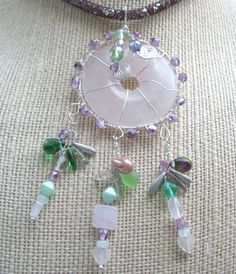 """Silver Wire Wrapped Rose Quartz Donut Pendant 19""""-24"""" Necklace Mesh Crystal Chain Czech Glass Bead Dangles Pink Green Purple OOAK SRAJD by Multibeadia on Etsy"""