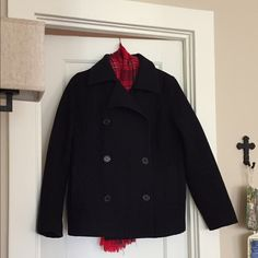 ONLY WANT TO TRADE. NOT FOR SALE. Navy Blue American Eagle Wool Pea Coat. Somewhat worn but still in good condition. It's to big and I would like to trade for a size small(2or0)wool trench-like coat. It needs to be dry cleaned still, has one top button missing and the seams in the pockets have come undone. No polling. I may see if the cleaners can add a button and fix the seems, we'll see. American Eagle Outfitters Jackets & Coats Pea Coats