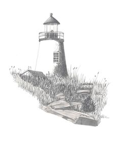 Bar Harbor Lighthouse Drawing  - Bar Harbor Lighthouse Fine Art Print