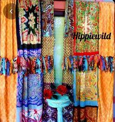 Hippie Curtains, Shabby Chic Curtains, Beaded Curtains, Drapes Curtains, Beautiful Curtains, Hippie Boho, Boho Gypsy, Bohemian Decor, Bohemian Room