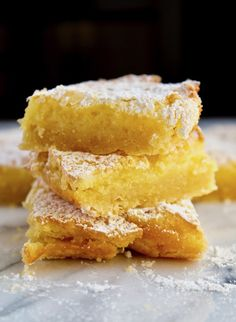 Luscious lemon squares with a buttery shortbread-like crust and sweet and lightly tart filling. Perfect year round dessert or for a potluck.