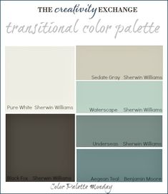 Transitional Paint Color Palette with images of rooms painted in these colors. {Color Palette Monday #3} The Creativity Exchange by rachelle...