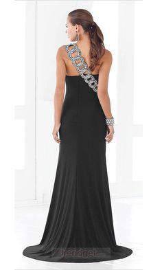 Attractive Sheath / Column One Shoulder Floor-length Chiffon Black Military Ball Dresses - $135.99 - Trendget.com