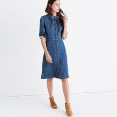 """Made of best-of-the-best denim from the Orta mill, this shirtdress has a touch of stretch for a tailored fit. Loosely knot the extra-long ties at the neck or leave them hanging free. <ul><li>Waisted.</li><li>Falls 40"""" from highest point of bodice.</li><li>Cotton.</li><li>Machine wash.</li><li>Import.</li><li>Select stores.</li></ul>"""