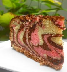 Chocolate, vanilla and strawberry marble cake recipe and inspiration. :)