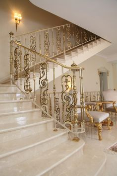 """""""The Royal"""" Series remakes a luxurious theme from ancient times. Solid brass centers come in two finishes, Either """"Antique Bronze"""" hand painted and lacquered, or 24 carat gilded and lacquered. For indoor use only. Wrought Iron Stairs, Iron Stair Railing, Stair Railing Design, Interior Railings, Interior Stairs, House Floor Design, Modern House Design, Home Room Design, Bathroom Interior Design"""