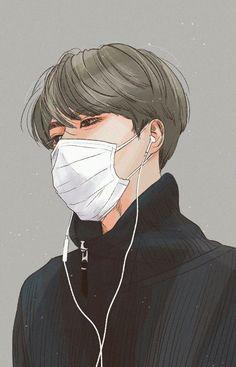 Cre: the owner/as logo Sehun, Kpop Anime, Anime Guys, Manga Art, Anime Art, Exo Fan Art, Draw On Photos, Human Art, Kpop Fanart