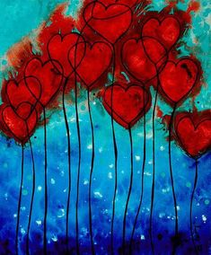 Hearts On Fire - Romantic Art By Sharon Cummings Greeting Card for Sale by Sharo. - Hearts On Fire – Romantic Art By Sharon Cummings Greeting Card for Sale by Sharon Cummings – - Heart Painting, Fire Painting, Coffee Painting, Fire Heart, Hearts On Fire, Art Projects, Garden Projects, Abstract Art, Abstract Flowers
