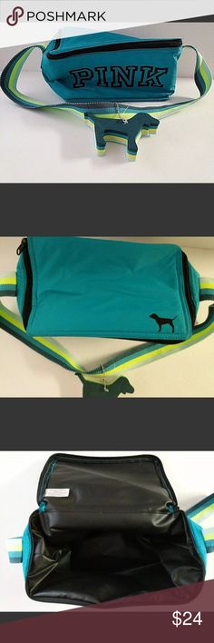 """VS Pink Lunchbox Beach Cooler NWOT Never Used VS Pink Small 8""""x4"""" Lunchbox Beach Cooler Teal Blue Dog Logo Key Chain PINK Bags Travel Bags"""